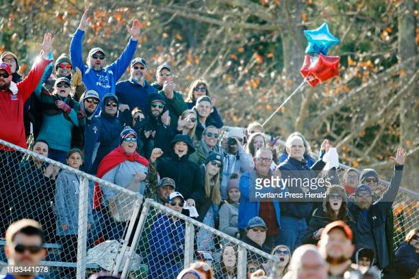 Mt Ararat fans celebrate a touchdown in second half action vs Yarmouth in eightman quarterfinal football at the Topsham Fairgrounds