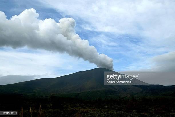 Mt Asama which straddles Gunma and Nagano prefectures erupts September 17 2004 in Karuizawa Nagano Prefecture Japan Mt Asama has had a series of...