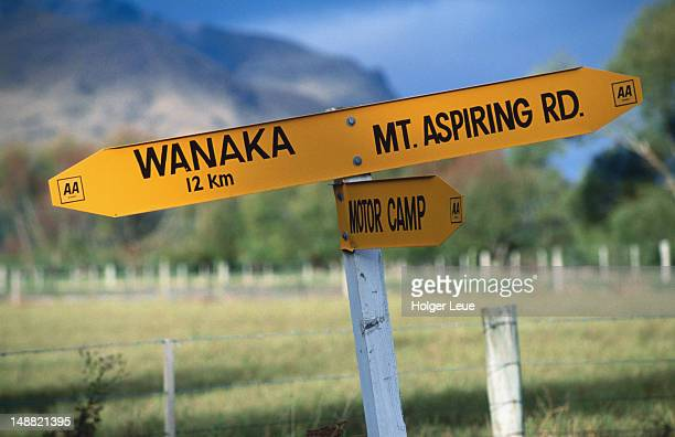 Mt Aspiring road sign near Wanaka.