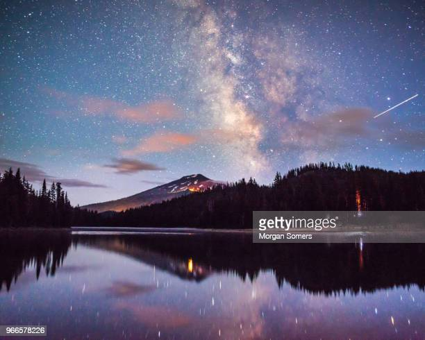 mt bachelor reflecting in todd lake bend, oregon - bend oregon stock photos and pictures