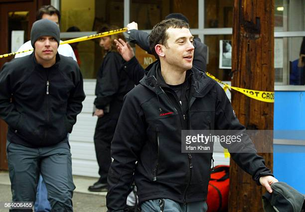 Mt Baldy Feb07 2005 – – Clay Senechal left and Jonathan Lemkin walk out of the command post in Mt Baldy Both Los Angeles men failed to return from a...