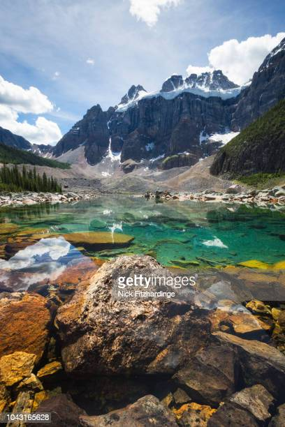 mt bident and mt quadra above upper consolation lake, banff national park, alberta, canada - canadian rockies stock pictures, royalty-free photos & images