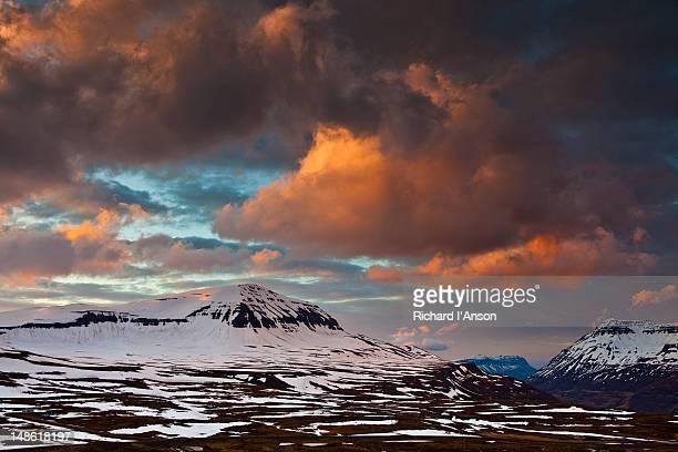 Mt Bjolfur at sunset.