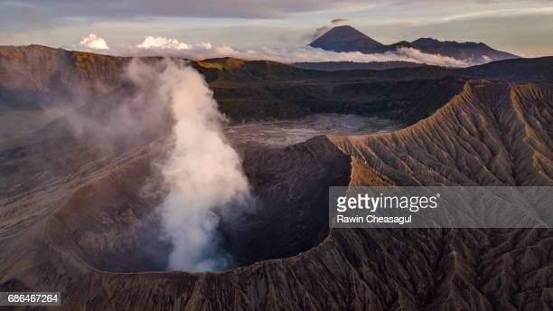 Mt Bromo and Mt Semeru at Sunset from Above