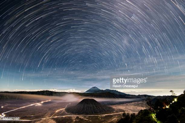 Mt Bromo Iconic landscape with star trails