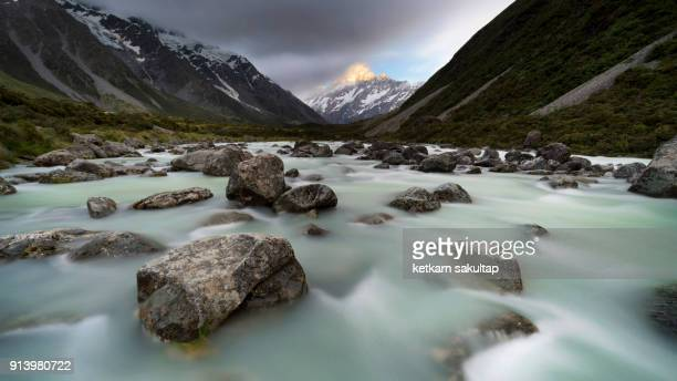 Mt Cook, a view from Hooker river, Hooker valley.