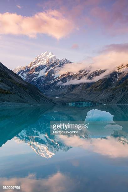 Mt Cook at sunset reflected in lake