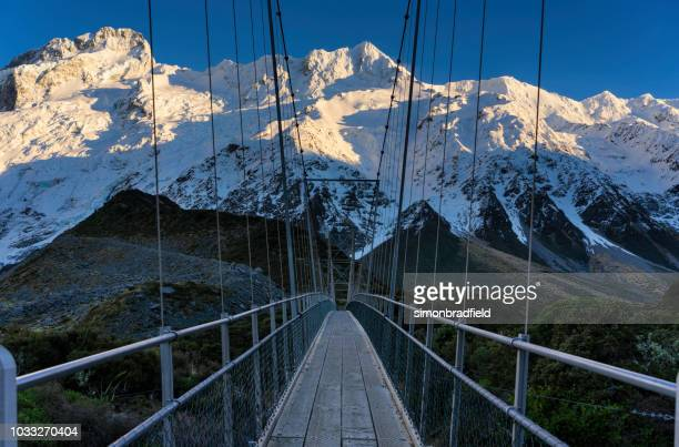 mt cook national park footbridge - elevated walkway stock pictures, royalty-free photos & images