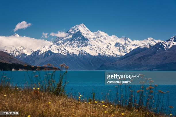 Mt Cook National park with lake Pukaki in the foreground.