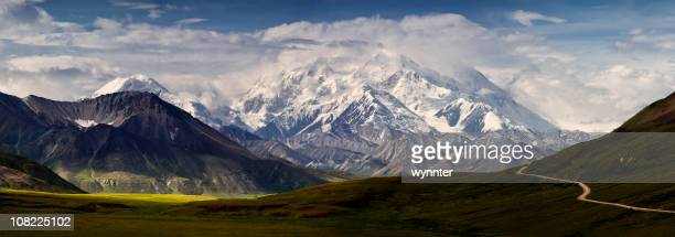 mt denali and the alaska range panoramic - mt mckinley stock photos and pictures