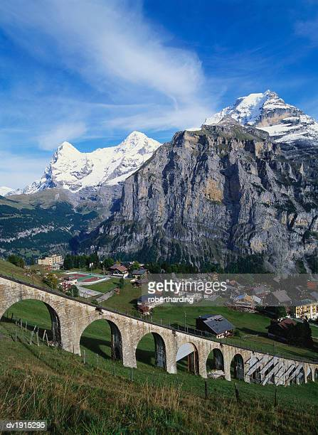 Mt Eiger, Mt Jungfrau and Mt Monch, Murren, Bernese Oberland, Switzerland