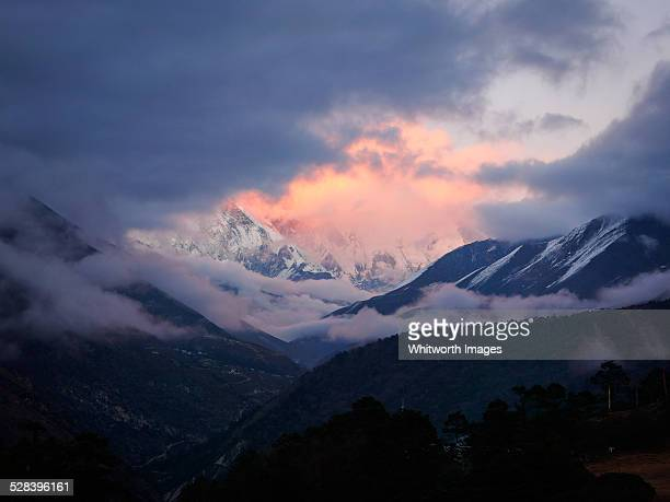Mt Everest from Tengboche at sunset, Nepal
