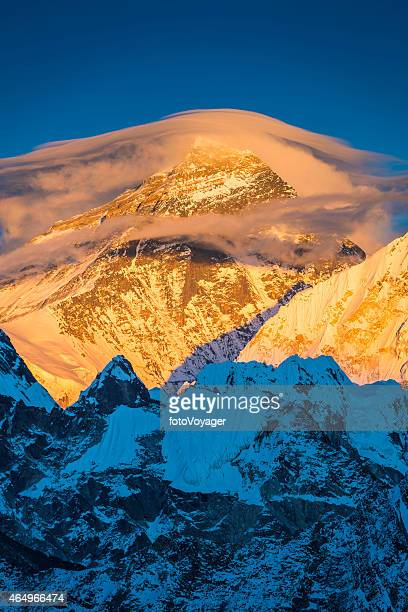 mt everest golden summit sunset lenticular cloudscape mountain himalayas nepal - jetstream stock pictures, royalty-free photos & images