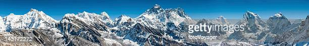 Mt Everest Himalaya mountain peaks super panorama