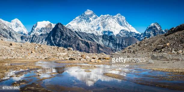 Mt Everest Himalaya snow peaks panorama reflecting mountain stream Nepal