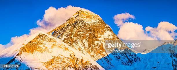 Mt Everest iconic summit South Col illuminated sunset Himalayas Nepal