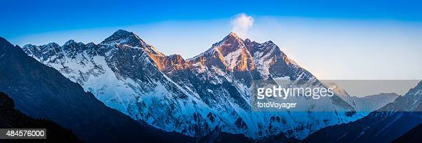 Mt Everest Nuptse Lhotse dawn sunlight panorama Khumbu Himalayas Nepal