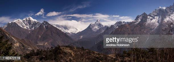 mt everest panorama from everest view near namche bazaar, everest base camp trek, nepal - khumbu stock pictures, royalty-free photos & images