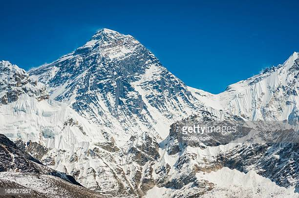 mt everest summit and south col himalayas nepal - south stock photos and pictures
