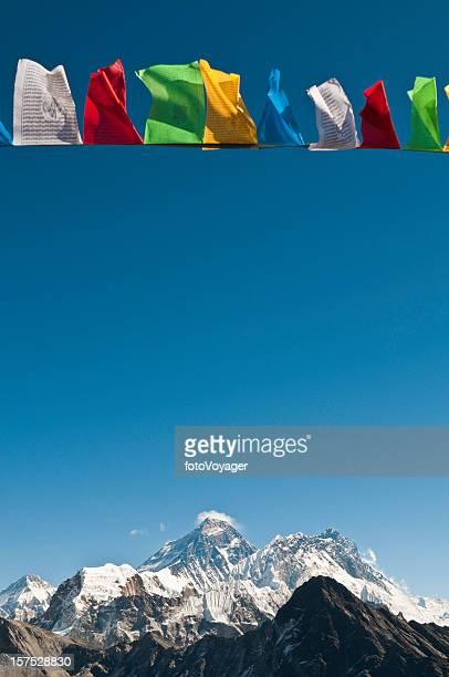 Mt Everest summit colorful prayer flags Nuptse Lhotse Himalaya Nepal