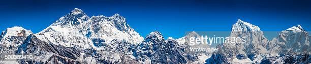 Mt Everest summit overlooking Himalayas snowy mountain peaks panorama Nepal