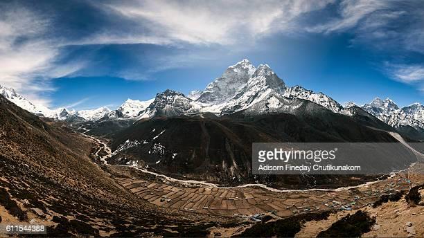 Mt Everest summit  panorama Khumbu Glacier Himalayas Nepal