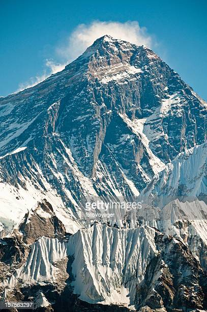 Mt Everest summit south face snow glaciers cliffs Himalayas Nepal