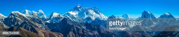 Mt Everest summit towering over Himalaya mountain peaks panorama Nepal