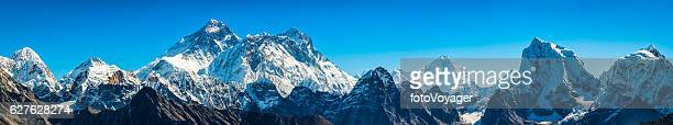 Mt Everest super panorama iconic Himalaya mountain peaks summits Nepal