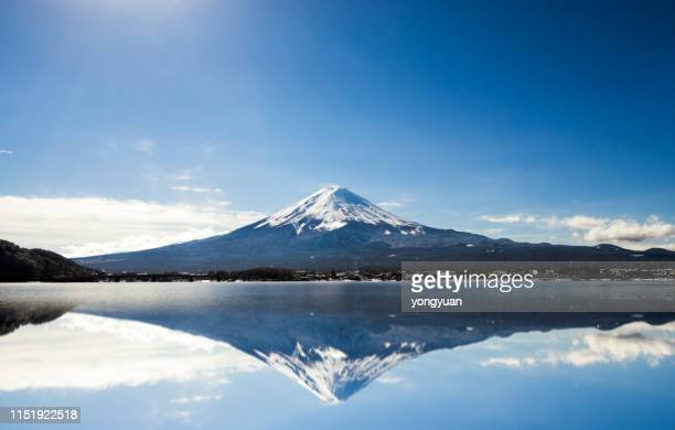 mt. fuji against blue sky - mt. fuji stock pictures, royalty-free photos & images