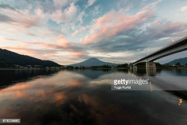 Mt. Fuji and a Bridge Reflected in a Lake