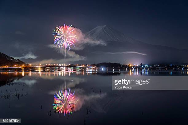 Mt Fuji and a Firework Reflected in Lake Kawaguchi