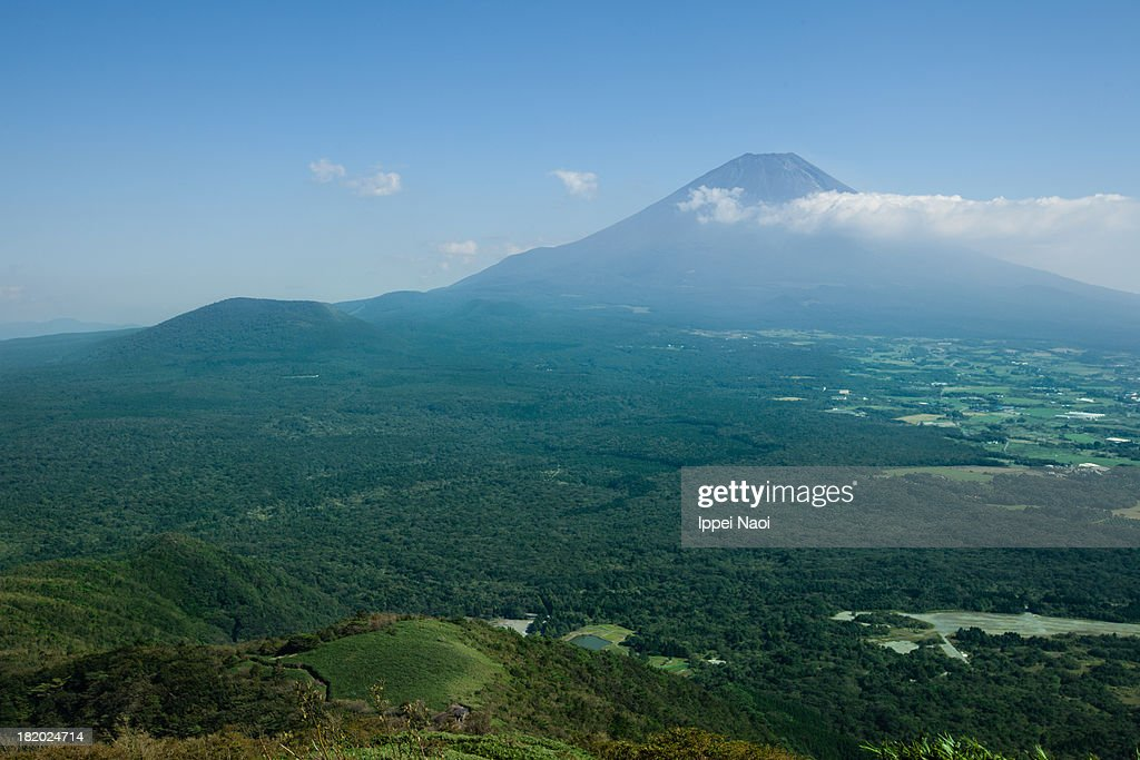 Mt. Fuji and Aokigahara Forest from above : Stock Photo
