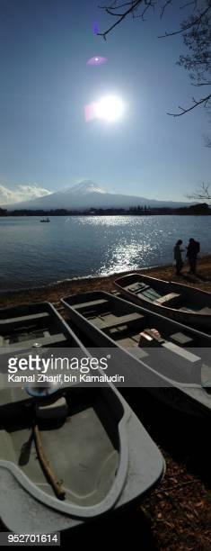 Mt Fuji and boats