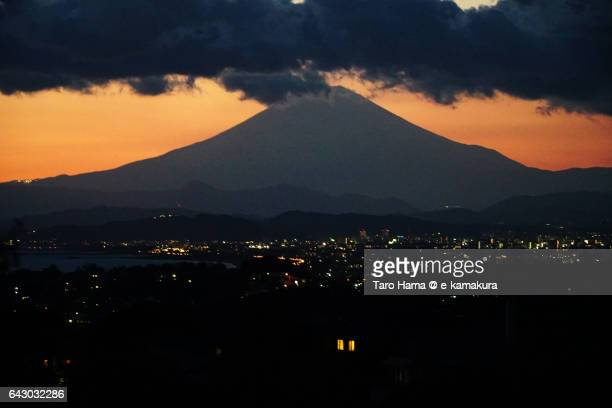 Mt. Fuji and cityscape after sunset