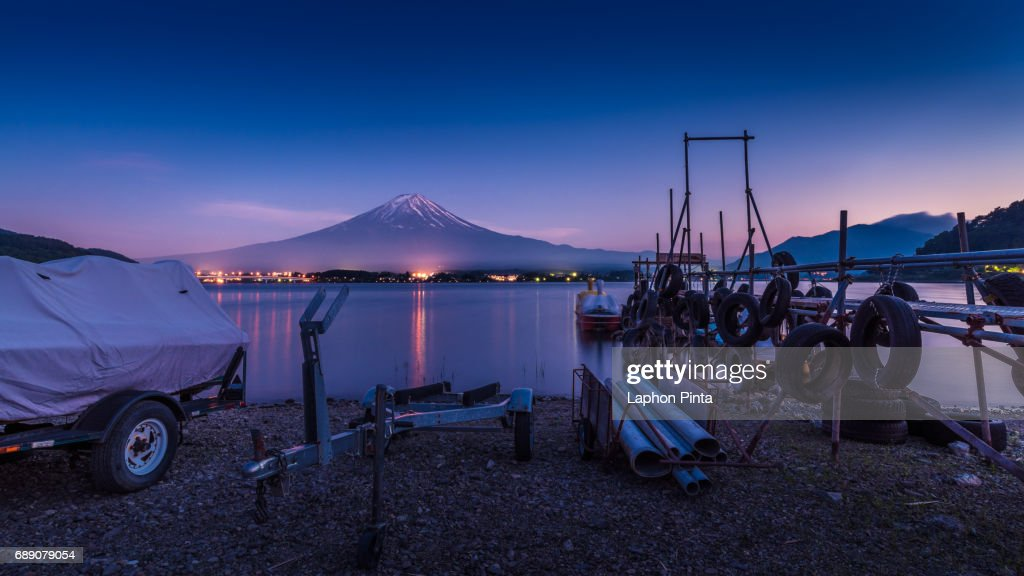 mt. Fuji and dock in Kawaguchiko lake Before dawn : Stock Photo
