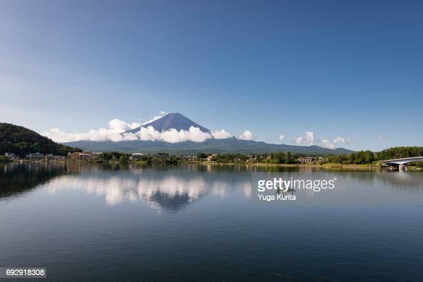 Mt. Fuji and Fishing Board Floating on Lake Kawaguchi