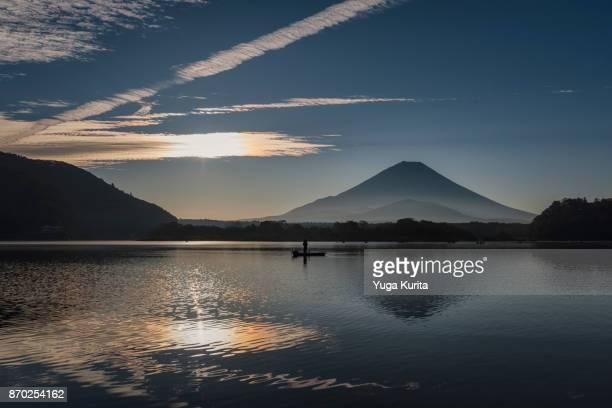 Mt. Fuji and Iridescent Clouds Reflected in Lake Shoji