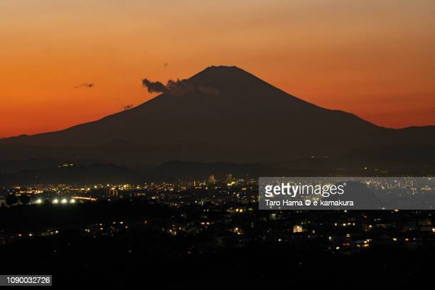 Mt. Fuji and Kamakura, Fujisawa, Chigasaki and Hiratsuka cities in Japan in the sunset