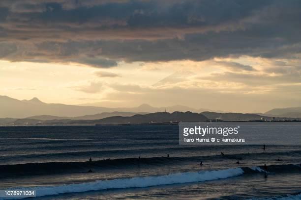Mt. Fuji and Kugenuma Beach in Fujisawa city in Kanagawa prefecture in Japan in the sunset