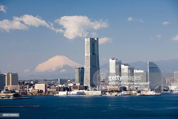 mt. fuji and minato mirai. yokohama, kanagawa prefecture, japan - yokohama stock pictures, royalty-free photos & images