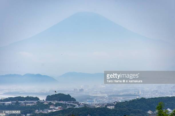 mt. fuji and residential district by the sea in japan - chigasaki stock pictures, royalty-free photos & images
