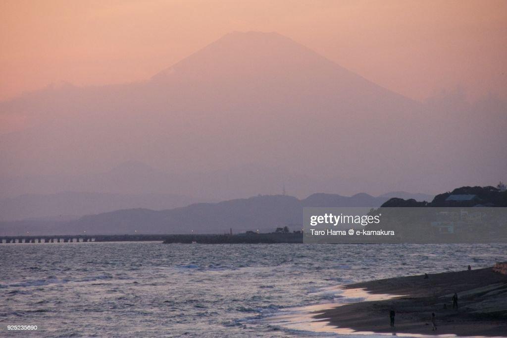 Mt. Fuji and Sagami Bay in Kanagawa prefecture in Japan in the sunset sky : Stock-Foto