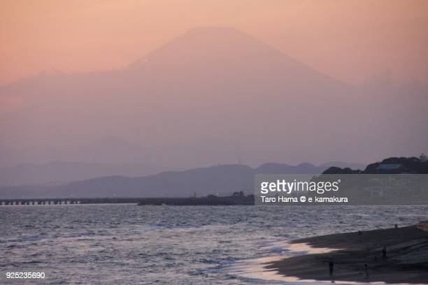 Mt. Fuji and Sagami Bay in Kanagawa prefecture in Japan in the sunset sky