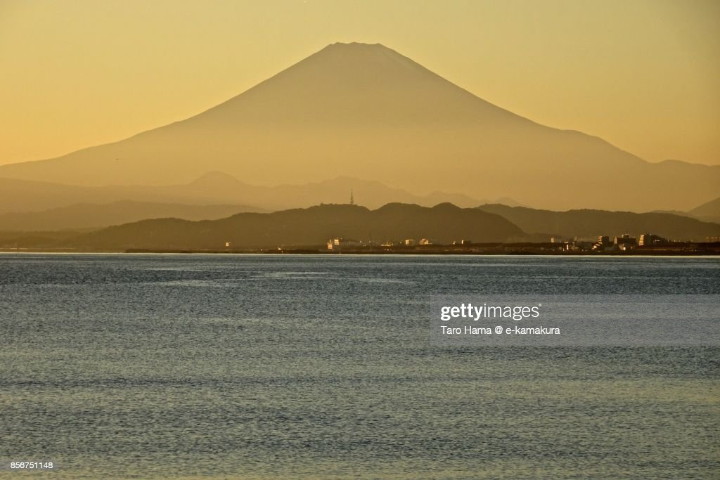 Mt. Fuji and Sagami Bay in the sunset : ストックフォト