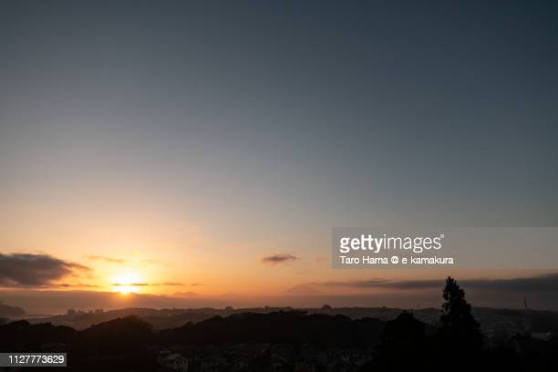 Mt. Fuji and Sagami Bay, Pacific Ocean in Japan in the sunset