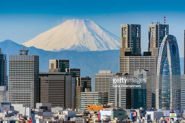 Mt Fuji and Shinjuku buildings