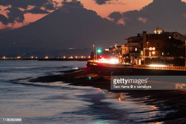 Mt. Fuji and the coast road near Pacific Ocean in Japan