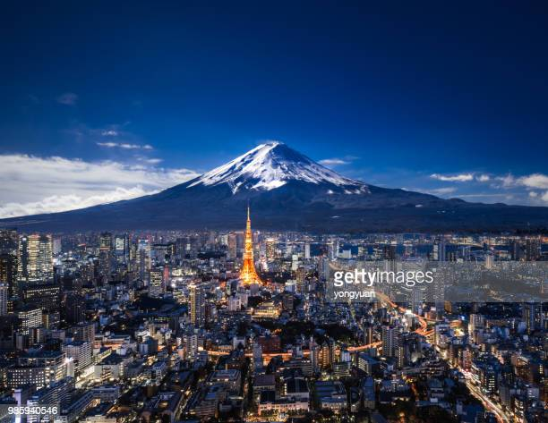 mt. fuji and tokyo skyline at night - mount fuji stock photos and pictures