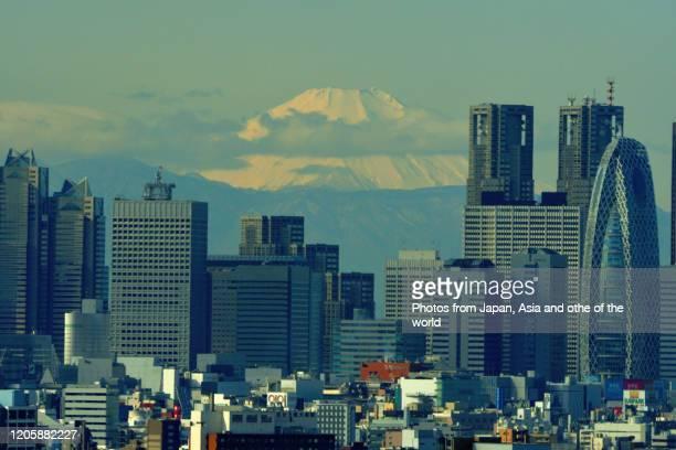 mt fuji and tokyo skyline: day & night view - 東京都庁舎 ストックフォトと画像